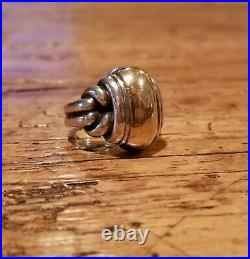 James Avery Retired Sterling Silver & 14K Yellow Gold Knot Dome Ring Sz 6 1/2