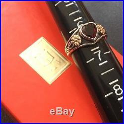 James Avery Retired Sterling Silver & 14k Gold Garnet Heart Ring Sz 6.25 Gift Bx