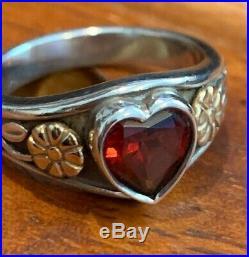 James Avery Retired Sterling Silver & 14k Gold Garnet Heart Ring Sz 7 Gift Bx