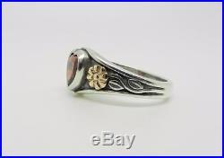 James Avery Retired Sterling Silver-14k Yellow Gold Heart Garnet Ring Lb-c1757