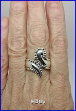 James Avery Retired Sterling Silver Beaded Edges Bypass Ring Size 6.75- Lb-c1621
