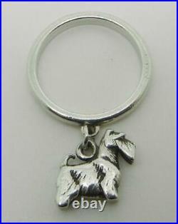 James Avery Retired Sterling Silver Scottish Terrier Dangle Ring Sz 6 Lb2094