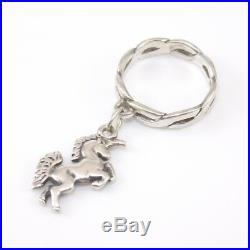 James Avery Retired Sterling Silver Unicorn Dangle Charm Ring Size 4 SFI