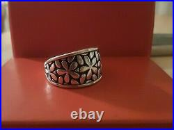 James Avery Retired Thick Sterling Silver Spring Blossom Flower Ring Size 10