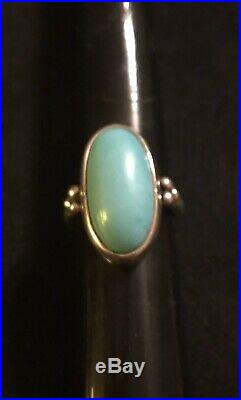 James Avery Retired Turquoise Oval Classic Sterling Silver Ring Size 7.5