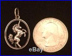 James Avery Retired Unicorn In Oval Charm Or Pendant Sterling Jump Ring Is Cut