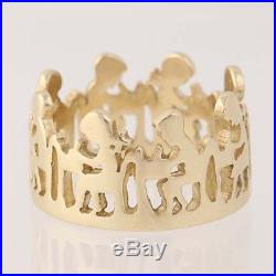 James Avery School Children at Desks Ring 14k Yellow Gold Band Retired Size 5