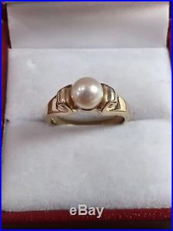 James Avery Scroll Ring with Cultured Pearl 14k yellow gold Size 5.5