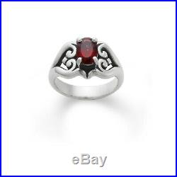 James Avery Scrolled Heart Ring with Garnet Excellent Preowned Condition Size 7.5