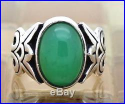James Avery Silver Floral Ring With Oval Green Jade/Chrysoprase Size 8, 8.1G RARE
