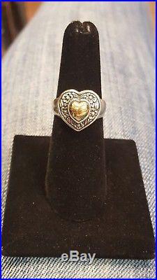 James Avery Silver & Gold Flower Rimmed Domed Heart Ring Size 6.5-7.4G RETIRED
