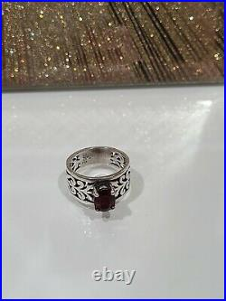 James Avery Size 6.5 Sterling Silver Adoree Swirl Ring Oval Red Garnet Stone