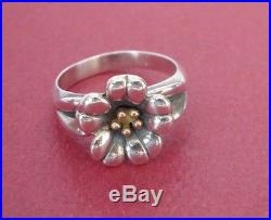 James Avery Small April Flower Ring 18k and Sterling Silver Size 6