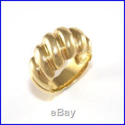 James Avery Solid 14K Yellow Gold Retired Rare Shrimp Ribbed Band Ring Size 5