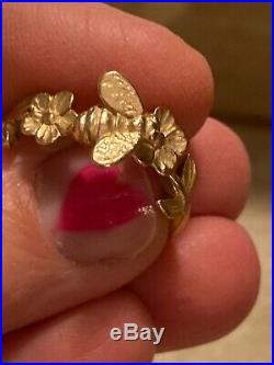 James Avery Solid 14k Yellow Gold 3-D Bee Ring Rare Retired Stamped