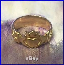 James Avery Solid 14k Yellow Gold Claddagh Ring Size 9