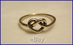 James Avery Solid 14k Yellow Gold Delicate Heart Knot Ring Size 7.0