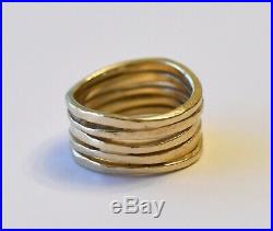 James Avery Stacked Hammered Ring 14k Gold US Size 7 1/2 (Retail $800)