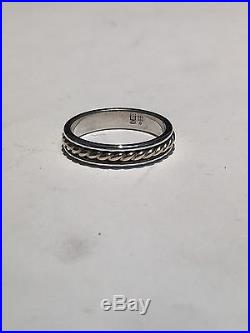 James Avery Sterling Silver 14K Gold Rope Ring Band