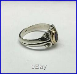 James Avery Sterling Silver/14K Yellow Gold Scrolled Amethyst Ring Size 7
