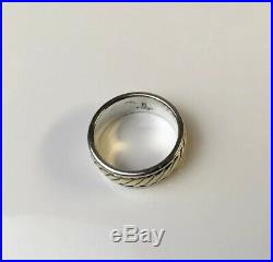 James Avery Sterling Silver & 14k Gold Rope Wedding Band Ring Size 10 Retired
