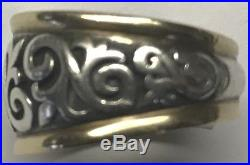James Avery Sterling Silver/14k Gold Scrolled Fleur-De-Lis Ring Size 7.5
