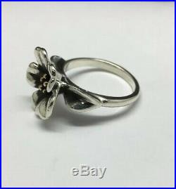 James Avery Sterling Silver/18K Yellow Gold April Flower Ring Size 7.5