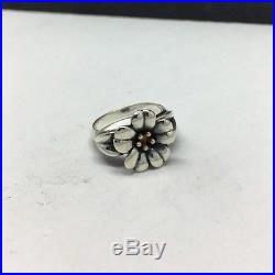 James Avery Sterling Silver/18k Yellow Gold April Flower Ring Size 5