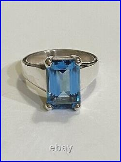 James Avery Sterling Silver Blue Topaz Bella Ring Size 7