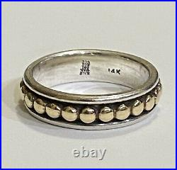 James Avery Sterling Silver HTF 14k Dot Bead Band Ring Size 7.5