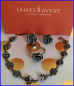 James Avery Sterling Silver Large Rose Blossom Earrings And Ring Set