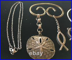 James Avery Sterling Silver Lot- Eagle Ring, Sand Dollar, Chain, 3 Ichthus Piece