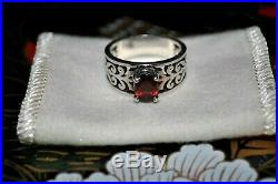 James Avery Sterling Silver Scrolled Adoree Garnet Ring Sz 8
