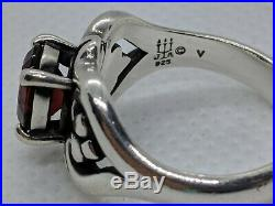 James Avery Sterling Silver Scrolled Heart Ring Red Garnet Size 7 FREE SHIPPING