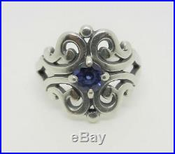 James Avery Sterling Silver Spanish Lace Ring With Sapphire Size 7 Lb-c1819