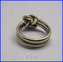 James Avery Sterling Silver and 14K Yellow Gold Original Lovers Knot Ring Size 8