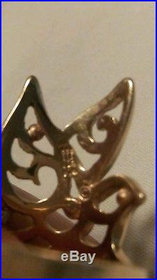 James Avery unique Dove Ring. Rare retired 14 kt yellow gold. Size 8.5-9