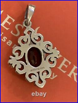 James avery Scrolled Garnet Penant Excelent Cond & Gift Box 925SS