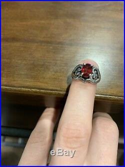 James avery Scrolled Heart garnet ring
