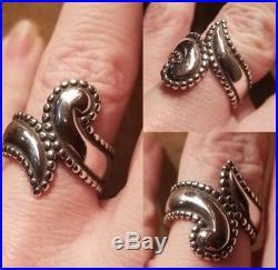 RARE James Avery Beaded Edges Bypass Paisley Swirl Ring SZ 7.5 EBAY BEST PRICE