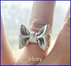 RARE James Avery LARGE Bow Ring Retired +JA Box and Pouch! Sz 8
