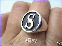 RARE James Avery S Signet 14kt Gold and Sterling Silver Oval Ring