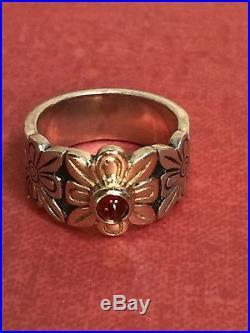 RARE James Avery Sterling Silver 14K Gold Garnet Flower Ring LDS SZ 4.5
