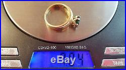 RARE RETIRED James Avery 14 Gold Green Emerald Solitaire Ring Sz 7 with Box & Bag