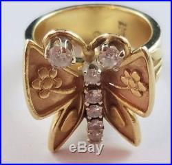 RARE RETIRED James Avery 14k Yellow Gold Mariposa Butterfly Diamond Ring Sz 7.25