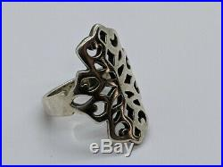 RARE RETIRED James Avery Sterling Silver Tall Long Cutout Open Ring Size 8