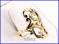 RARE Retired James Avery 14K Scrolled Heart to Heart Ring Size 7 1/2