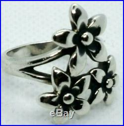 RARE! Retired James Avery Flower Bouquet Ring Sterling Silver Size 8 1/2