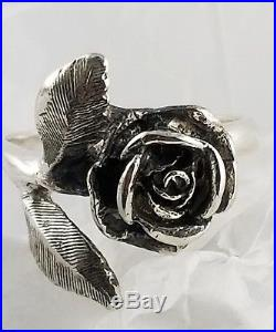 RARE Retired James Avery Sterling Silver Large 3 dimensional Rose Ring- Sz. 7