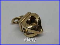 RETIRED James 14k Yellow Gold Heart Finial Charm Uncut Ring FREE SHIPPING